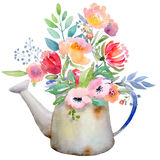 Watercolor jug with flowers Royalty Free Stock Photos
