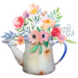 Watercolor jug with flowers Royalty Free Stock Images
