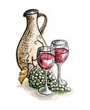Watercolor jug, glasses of wine and grapes. In graphic style hand-drawn vector illustration Royalty Free Stock Photo