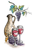 Watercolor jug and glasses of wine  grapes isolated on white. Watercolor jug and glasses of wine and grapes isolated on white in graphic style hand-drawn vector Stock Photography