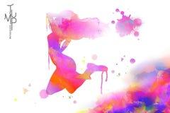 Watercolor jump girl Royalty Free Stock Photo