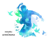 Watercolor jumping silhouette. Young boy jumping with pigeons around him in watercolor style. Blue tone Royalty Free Stock Photos