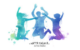 Watercolor jumping silhouette stock illustration