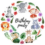 Watercolor jungle friends Animals, africa, tropical leaves vector illustration