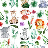 Watercolor jungle friends Animals, africa, tropical leaves Royalty Free Stock Images