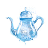 Watercolor kettle with tea Royalty Free Stock Image
