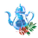 Watercolor kettle with tea Stock Photos