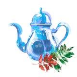 Watercolor kettle with tea Stock Photos