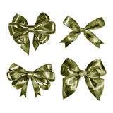 Watercolor khaki green satin bow. Hand painted illustration. Stock Images