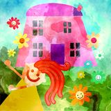 Watercolor Kids House Royalty Free Stock Photo