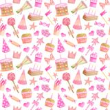 Watercolor kids party seamless pattern. Hand drawn cute pink design with cake wth candles, party hat, candy, gift box