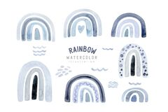 Watercolor kids raindow set, scandinavian clipart with hand painted boho rainbows. Nursery art illustration in trendy