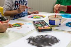 Watercolor in kindergarten Stock Photos