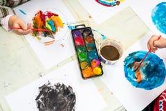 Watercolor in kindergarten Stock Photography