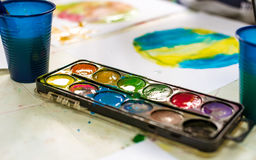 Watercolor in kindergarten Stock Photography