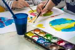 Watercolor in kindergarten Royalty Free Stock Image