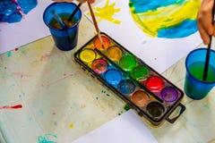 Watercolor in kindergarten Royalty Free Stock Photography