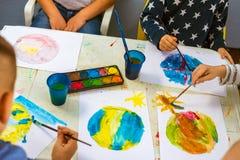 Watercolor in kindergarten Stock Image