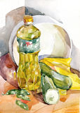 Watercolor kitchen still life illustration. With zucchini, a bottle of olive oil and peas vector illustration