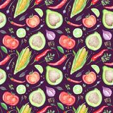 Watercolor Kitchen Vegetarian Pattern Stock Images