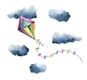 Watercolor kite air set. Hand painted vintage kite with clouds and retro design. Illustrations isolated on white Royalty Free Stock Photo