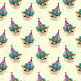 Watercolor  Kitten IN PARTY HAT seamless pattern Royalty Free Stock Image