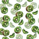 Watercolor kiwi seamless pattern stock photos