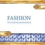 Watercolor knitting borders vector illustration