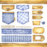 Watercolor knitting, checkered textile border  Stock Photos