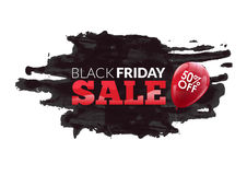 Watercolor label on the big Black Friday discounts. And sales with balloon 50 percent off Royalty Free Stock Photo