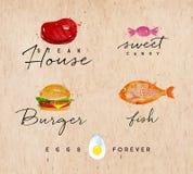 Watercolor label burger kraft Royalty Free Stock Photos