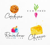 Watercolor label cheese. Set of watercolor labels lettering cookies here, eco food, rainbow shave ice, cheese here drawing on watercolor background Stock Image