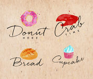Watercolor label crab kraft Royalty Free Stock Photography
