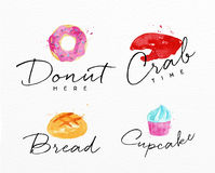 Watercolor label crab Stock Images