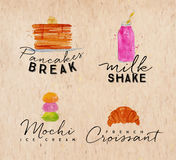 Watercolor label croissant kraft Stock Photography