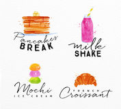 Watercolor label croissant Royalty Free Stock Images