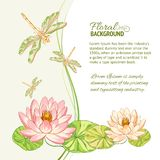 Watercolor label of lotus and dragonfly. Royalty Free Stock Photography