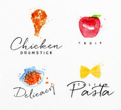 Watercolor label pasta. Set of watercolor labels lettering chicken drumstick, fruit, delicacy, italian pasta drawing on watercolor background Stock Photo
