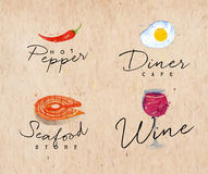 Watercolor label seafood kraft Royalty Free Stock Photography