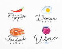 Watercolor label seafood. Set of watercolor labels lettering hot pepper, diner cafe, seafood store, wine drawing on watercolor background Stock Photo