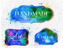 Watercolor Labels overlay Stock Photo