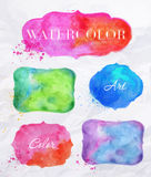 Watercolor labels. Set watercolor labels design elements, vintage frame handmade aquarelle Stock Photos