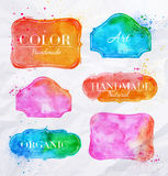 Watercolor labels vintage Royalty Free Stock Photo