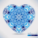 Watercolor lace patterns heart shape Stock Image