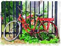 Watercolor of ladies red Dutch bicycle leaning against gate. Digital watercolour painting of a ladies red Dutch bicycle leaning against a gate with plants Stock Image