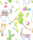 Watercolor lama pattern Royalty Free Stock Images
