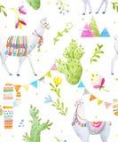 Watercolor lama vector pattern Royalty Free Stock Image