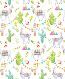 Watercolor lama vector pattern Royalty Free Stock Images