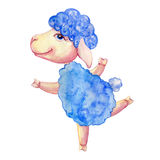 Watercolor Lamb Hand Drawn Kid Cartoon Animal, Domestic Cute Ship Running Isolated On White Background, Character Design Stock Photos