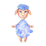 Watercolor Lamb Hand Drawn Kid Cartoon Animal, Domestic Cute Ship Standing Isolated On White Background, Character Stock Photography